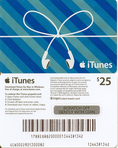 Apple iTunes Ingeo Gift Card